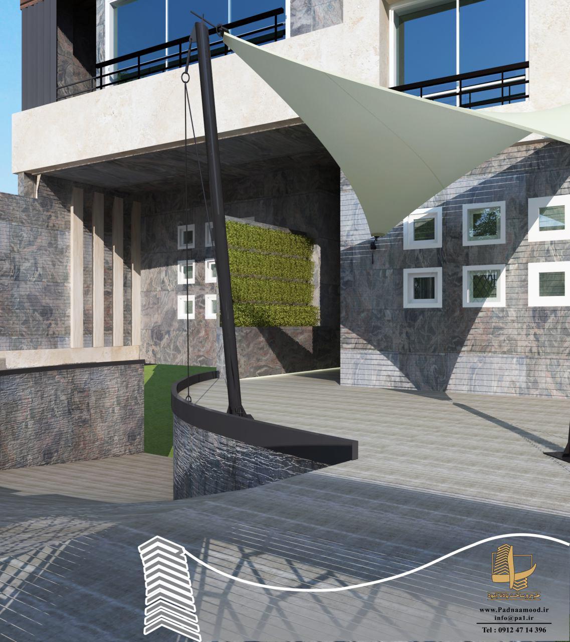 طراحی نما حیاط بام سبز